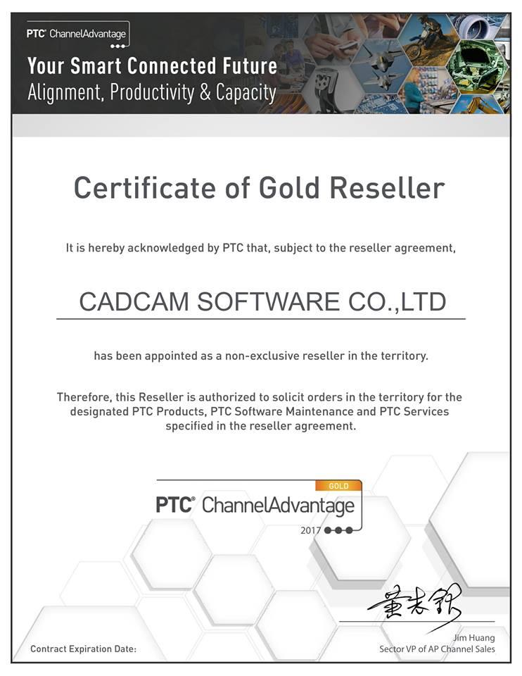 Chứng nhận CADCAM S/W là đối tác vàng của PTC, mua creo bản quyền